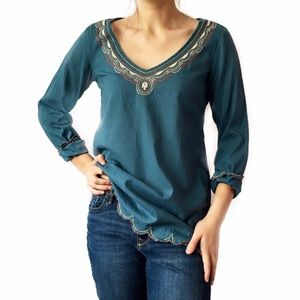 Lucky Brand embroidered scallop trim tunic top